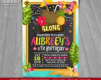 Luau Invitation - Hawaiian Birthday - Luau Party Printed or Printable Birthday - Swim Pool Party Chalkboard Birthday Printable - Luau