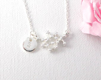 Silver Gemini Necklace, gemini jewelry, gemini, constellation jewelry, star sign necklace,star sign necklace, May and June birthday / SS003