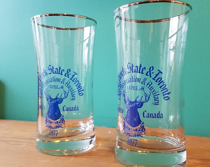 1977 New York State & Toronto Elk's Club Glasses