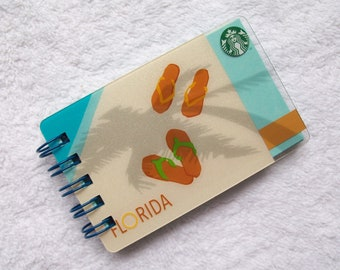 Recycled Starbucks Florida Beaches Gift Card Notepad