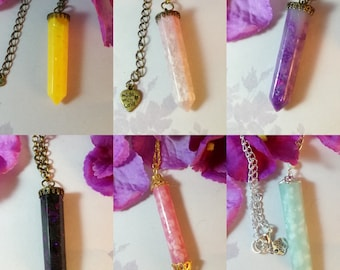 Resin crystal necklace, various colors