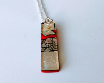 Fused glass red and silver pendant