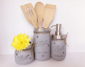 Painted Mason Jars. Mason Jar Kitchen Set. Kitchin Decor. Rustic/Vintage Home Decor. Vase. Soap Dispenser. Kitchen Utensil Holder. Gift.