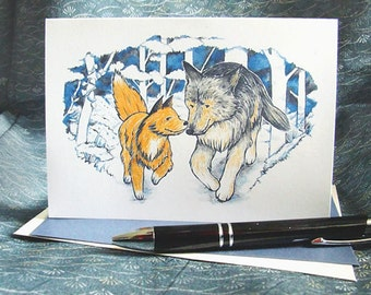 The Fox and the Wolf greeting card; cute animal anniversary/friendship blank card