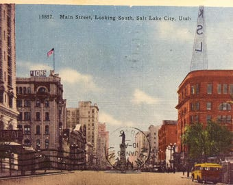 Vintage Postcard Salt Lake City Utah Main St looking South 1946