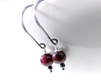Garnet Earrings, Red Earrings, Sterling Silver Earrings, Birthstone Earrings, January Birthstone, Gemstone Earrings- Seeds of Reason