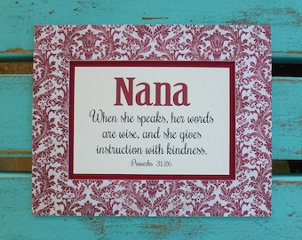 Mothers Day, scripture gift for Nana, Mimi quote, Grandma gift, Proverbs 31