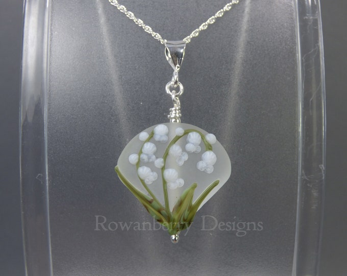 Featured listing image: Lily of the Valley Pendant and Chain - Art Nouveau Handmade Lampwork Glass & 925 Sterling Silver - Rowanberry Designs SRA - Art- LILP2