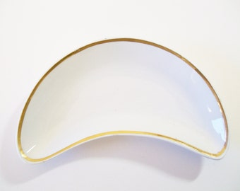 Ironstone Crescent Dish, Powell Bishop Bone Dish, Antique English Ironstone