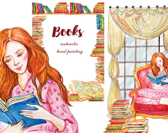 Books clipart, Watercolor girl,Girl reads,Design  literary website ,blog,Fashion illustration,graphics watercolor.library