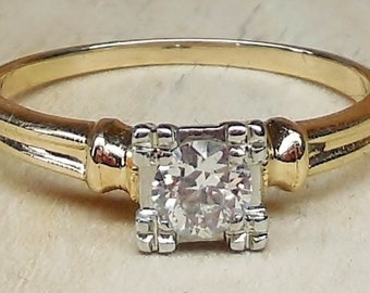 Vintage Antique .35ct Transitional Cut Diamond G VS 14k Yellow and White Gold Engagement Ring 1940 Art Deco