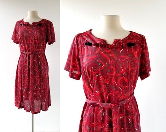 1960s Red Dress | The Red Wave | 60s Dress | Large L