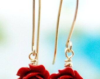 Red rose gold earrings, dangle earrings, 14k gold filled earrings, rose earings, bridesmaid earrings, nature inspired jewelry