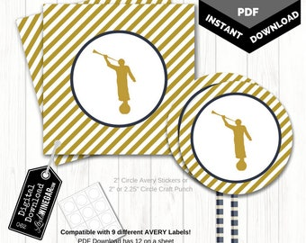 NEW 2018 Temple & Priesthood Prep Angel Moroni Cupcake Topper, LDS Baptism Favor Tag | 12 Circle or Square Tag | Instant Download 8.5x11 PDF