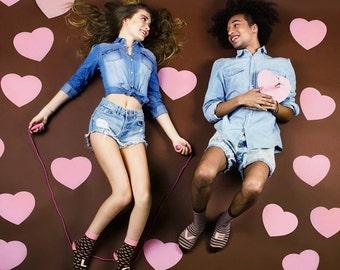Pink Brown love socks set, wedding socks, valentine's socks, Cupid socks.