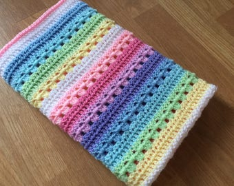 READY TO SHIP Baby blanket, crochet blanket, crochet baby blanket, pastel rainbow, rainbow baby, nursery decor