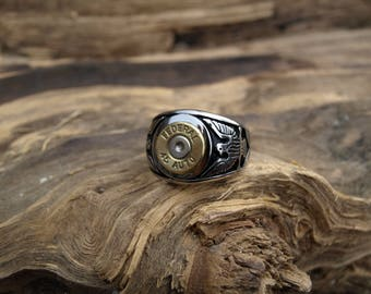 "Handmade Stainless Steel ""45 Auto  Bullet Ring"" with Eagles on each side."