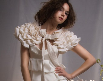 La Sylphide - little cream capelet with bow SAMPLE SALE IN STOCK SHIPS TOMORROW