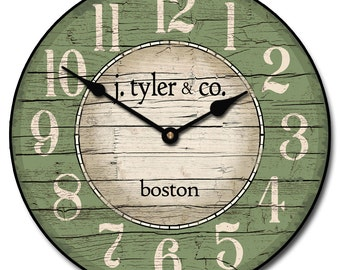 Boston Harbor Green Wall Clock