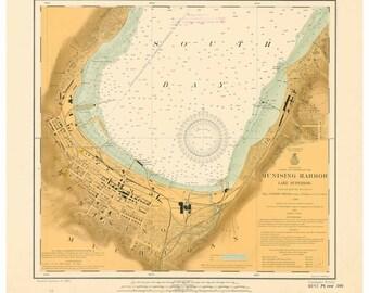Munising Harbor 1913 - Lake Superior, Michigan -Great Lakes Nautical Map Reprint  - Harbors small 932