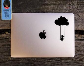Girl swinging from a cloud Macbook / Laptop Vinyl Decal