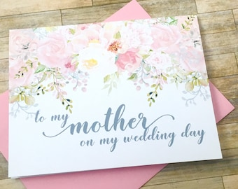 to my mother on my wedding day - card for mom - wedding day card for mommy - thank you mom watercolor blush - GARDEN ROMANCE