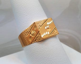 "22K Gold Men's Ring Size 9.5 (US/Canada) Handcrafted Genuine & Hallmarked ""916"" ~GOLDSHINE"