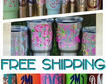 Yeti Monogram Decal,FREE SHIPPING,Yeti Cup,Yeti Sticker,Monogram Decal,Cup Decal,Car Decal,Cup Sticker, Car,Monogrammed cups