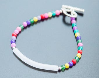 Candy Rainbow Bracelet - Glass Beads, Glass Tube Bead, Rainbow Bracelet, Multi-Colored Jewelry, Skittles, Sprinkles, Silver Jewelry