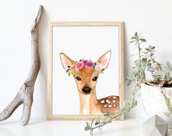 Deer Art Print, Woodland Nursery Decor, Fawn Woodland Art Print, Flowers Nursery Art, Floral Woodland Poster, Forest Animals Art, A-1311