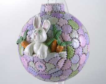 Easter Bunny with Carrots Ornament