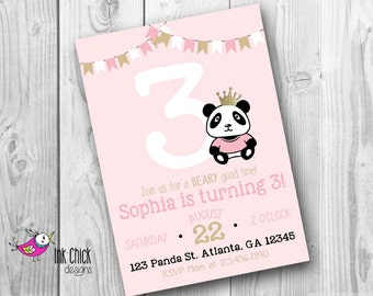 Panda Bear Birthday Invitation, Panda Birthday, Panda Party, Kids Invitation, Pink and Gold, Glitter Invitation, Printable, Digital File