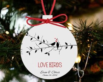 Love birds couples personalized Christmas ornament LBCRO