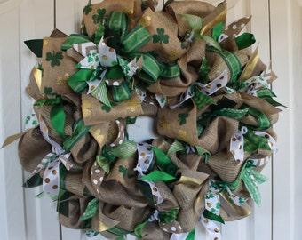 XL St. Patrick's Day Burlap Wreath . St. Patrick's Day Decoration.  Rustic St. Patrick's Day Decor. Green Shamrock wreath. Leprechaun wreath