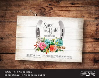 Rustic Save the Date Postcard | Printed or Printable Digital File DIY | Western Wedding Save the Date Postcard | Horseshoe Wedding Postcard