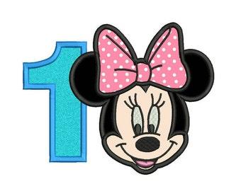 Minnie Mouse Applique Design - Minnie Mouse Birthday Applique