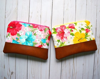Ready to ship floral clutch, vegan leather clutch, faux leather clutch, hawaiian clutch, spring clutch, hibiscus bag, tropical clutch, bag