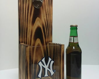 Rustic wooden bottle opener, New York Yankees or Your Pro Baseball team choice
