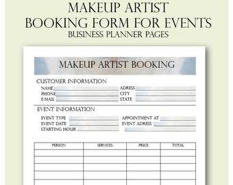 Makeup Artist Booking Form, Freelance Makeup Artist Business Planner Forms, Makeup Artist Planner, Wedding Makeup Artist Booking,