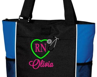 Nurse Tote, Monogrammed Nurse Bag, Stethoscope Heart Monogram, Embroidered RN Tote, RN Monogram, Stethoscope Monogram Tote