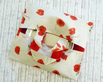 Red poppies Tailgating bag - Casserole carrier - Barbeque - Pan holder - Cake bag - Pot carrier - Food bag - Hot dish caddy - Reusable caddy