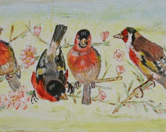 Acrylic painting of Goldfinches