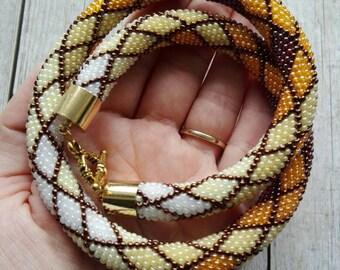 Handmade necklace, handmade jewelry, beaded necklace, crochet necklace, beaded jewelry, gift for her, boho necklace