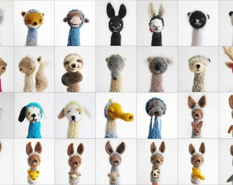 CUSTOM SHADOW BOX, Two Needle Felted Finger Puppets of Your Choice, Soft Toy and Nursery Art or Decoration, Children, Kids, Baby, Home