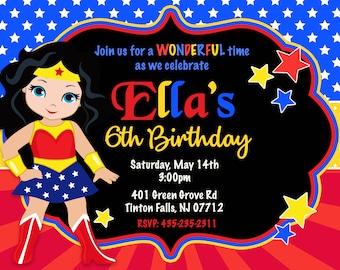 Wonder Woman Superhero Birthday Party Invitation, Wonder Woman, Birthday, Party Invitation, Superhero, ANY HAIR COLOR - Printable or Printed