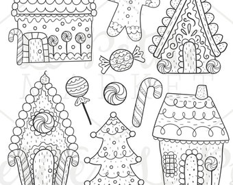 Hand Drawn Gingerbread Clip Art, Gingerbread House Clip Art, Cute Gingerbread Man Clipart, Gingerbread Houses Digital Stamps, Holiday Houses