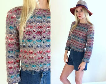 vtg 80s gray RAINBOW KNIT cropped SWEATER xs/Small colorful jumper knit crop top retro indie