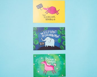 Motivational Illustrated Postcard Pack - 3 Pack - Pun - Confidence Boost - New Job - Friend - Gift