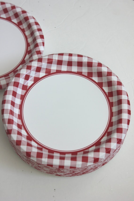Like this item? & Sale 16 RED or BLUE CHECKERED Paper Plates Gingham Nautical