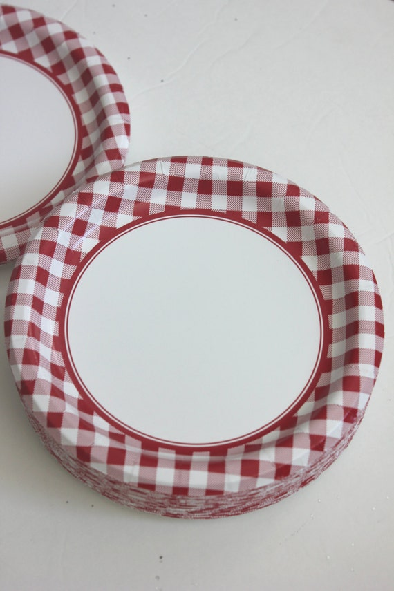 & Sale 16 RED or BLUE CHECKERED Paper Plates Gingham Nautical